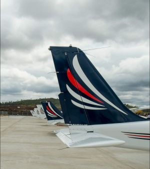 Academy planes lined up on the runway at Wellcamp Airport