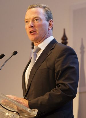 Education Minister Christopher Pyne drew audible gasps when speaking at the opening the Dr Chau Chak Wing Building.