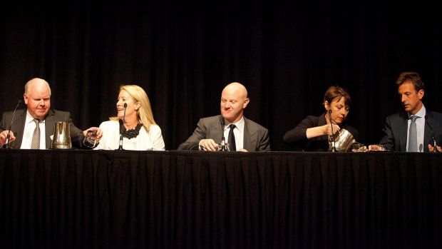 The Champions of Change: (from left) ANZ CEO Mike Smith, Sex Discrimination Commissioner Elizabeth Broderick, ...
