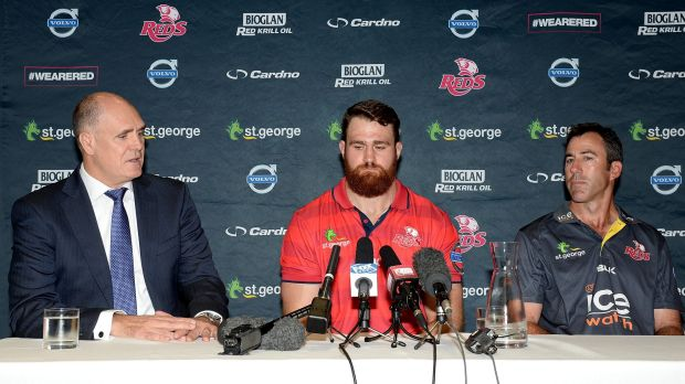 Under scrutiny: Reds chairman Rod McCall with James Horwill and coach Richard Graham. The Queensland powerbroker will ...