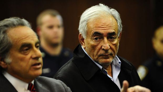Dominique Strauss-Kahn (right) and his lawyer Benjamin Brafman at Manhattan Criminal Court, in New York in 2011.