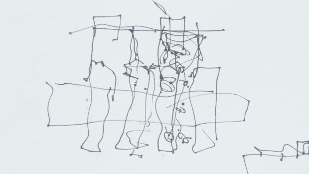 Stroke of genius: The quick sketch that arhitect Frank Gehry drew of the proposed UTS building in Ultimo.
