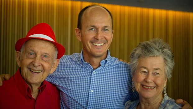 Relief: Juris Greste (left), the father of Australian journalist Peter Greste, Peter's brother Andrew (centre) and his ...