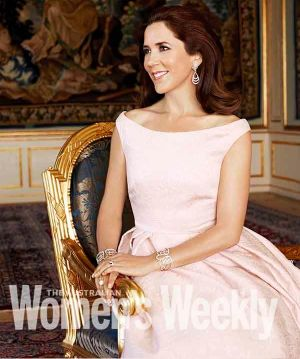 Aussie fashion icon: Princess Mary in the Carla Zampatti gown as she appeared in The Australian Women's Weekly in 2013.