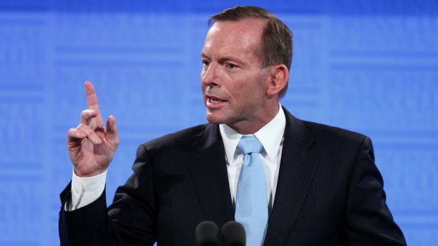 Prime Minister Tony Abbott addresses the National Press Club of Australia in Canberra on Monday.