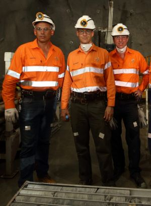 Adam Giles (left) with ERA boss Rob Atkinson and Willem Westra van Holthe (right).