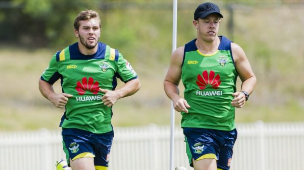 Neck and neck: Mitch Cornish and Sam Williams are in a race for the Raiders No7 jersey