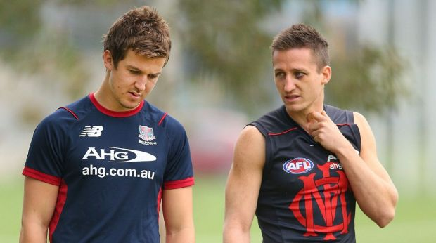 Waiting: Jack Trengove (left) with Jack Grimes last season.