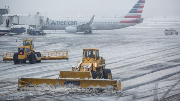 The tarmac is cleared at La Guardia Airport in New York.