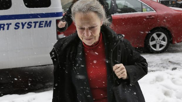 Julie Patz, mother of Etan Patz, returns to the courthouse after a break in her testimony in New York.