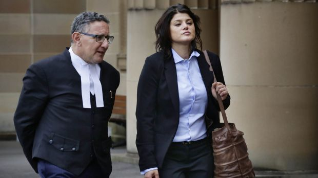 Self defence plea: Katherine Abdallah with her barrister, Gregory Stanton, at a court hearing on February 4.