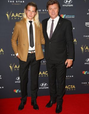 Father and son: Christian and Richard Wilkins at the 2014 AACTA Awards.