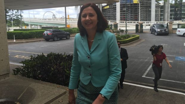 Labor leader Annastacia Palaszczuk arrives at Parliament House for her meeting with independent MP Peter Wellington on ...