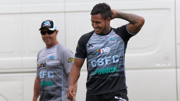 All eyes on the new Shark: Ben Barba with Sharks coach Shane Flanagan.