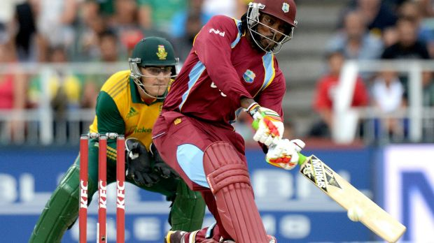 Big hitter: Chris Gayle launches another ball during the West Indies tour of South Africa.