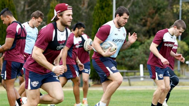 On the way back: David Williams (left) trains with his Manly teammates.