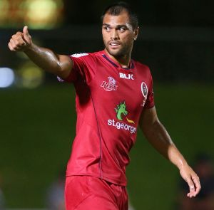 Karmichael Hunt during the Queensland Reds pre-season clash with the Melbourne Rebels.