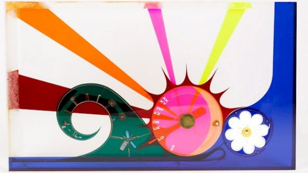 The Jack Meyer Sound sculpture radio rectangular box form and colour perspex neon, mounted internally with speaker, ...