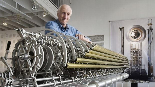 Stewart Brand with a prototype chime generator for the 10,000 Year Clock.