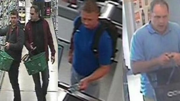 Three men police wish to speak to over razor blade thefts.