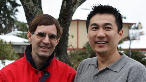 Wikipedia editor and grammar pedant Bryan Henderson, left, and his partner, Chun Xue.