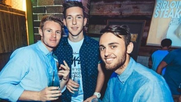 Matt Dyer, centre, was with friends when he lost his balance, police said. e