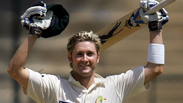 Michael Clarke celebrates a century on Test debut against India in 2004.