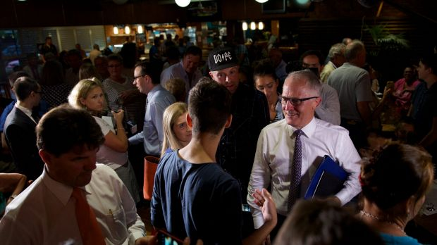 Malcolm Turnbull meets locals after a 'Politics in the Pub' forum.