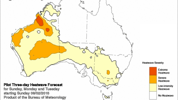 Bureau predicts heatwave to cover almost all of WA by Sunday onwards.