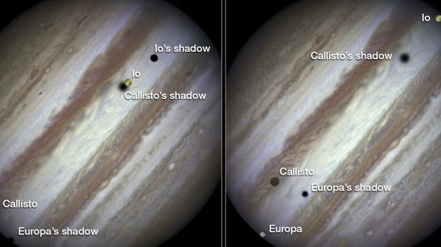 Three of Jupiter's largest moons parade across the giant gas planet's banded face.