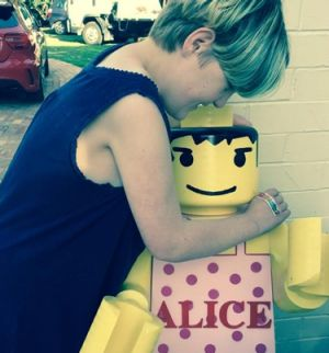 Charlie Bigg-Wither's daughter, Alison, and her Lego statue.