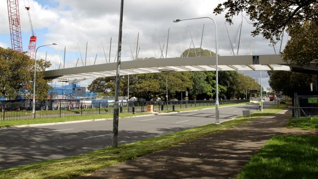 """Nearing completion: the Albert """"Tibby"""" Cotter Bridge across Anzac Parade."""