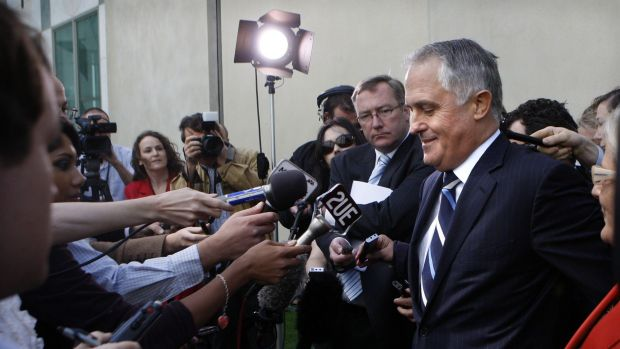 Malcolm Turnbull and wife Lucy Turnbull hold a press conference after he was defeated by new Opposition Leader Tony Abbott.