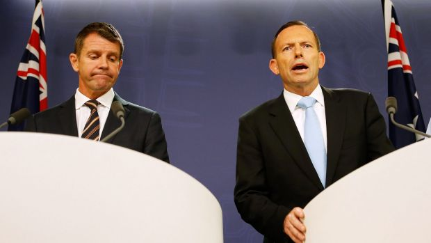 """""""Mates"""": NSW Premier Mike Baird and Prime Minister Tony Abbott."""