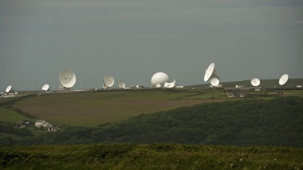 Illegal: Satellite dishes at GCHQ's outpost at Bude.