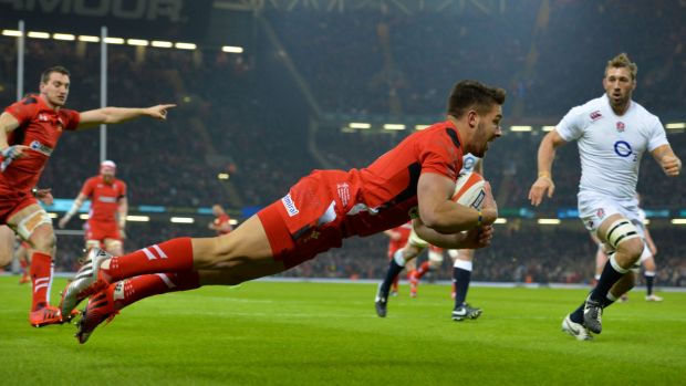 Good start: Wales halfback Rhys Webb opened the scoring for Wales.