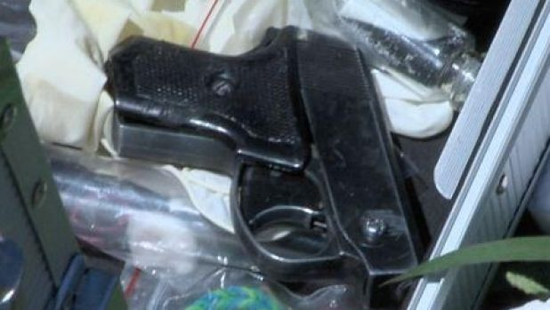 A replica firearm which was seized by police in a series of raids on Thursday and Friday.