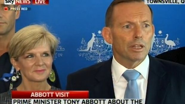 United front: Tony Abbott and Julie Bishop face the media