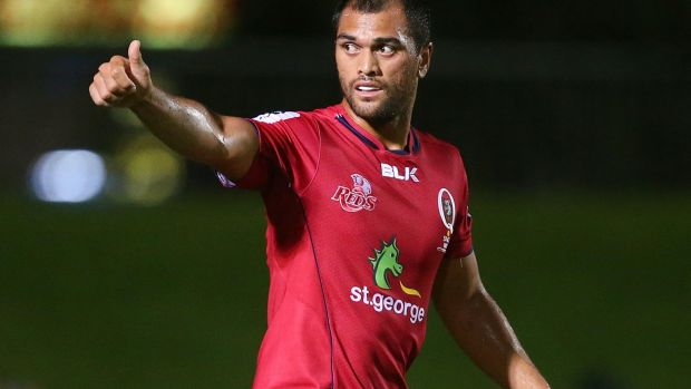 In hot water: Karmichael Hunt of the Reds during last week's trial match against the Rebels.