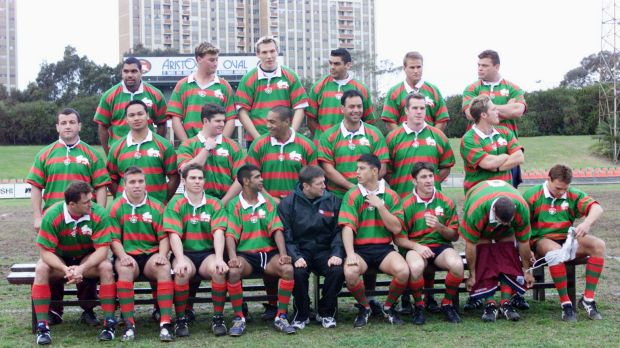 Marginalised: Souths players prepare for a team photo at Refern Oval on the eve of their match against USA organised by ...