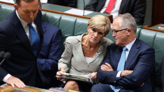 Question time: Prime Minister Tony Abbott, Julie Bishop, and Malcolm Turnbull face a defining moment when the Liberal ...