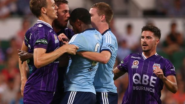 Flashpoint: Michael Thwaite and Aaron Calver attempt to separate Dino Djulbic and Jacques Faty in the box.