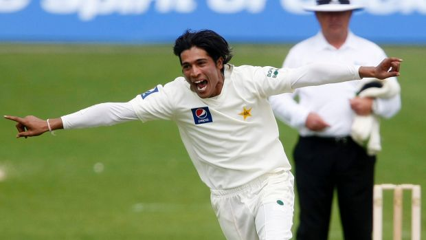 Happier times: Pakistan's Mohammad Amir celebrates after taking a wicket.