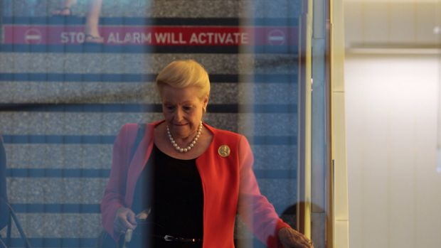 Speaker Bronwyn Bishop arrives at Canberra Airport on Sunday.