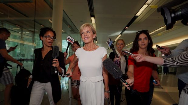 Foreign Minister Julie Bishop arrives at Canberra Airport on Sunday.