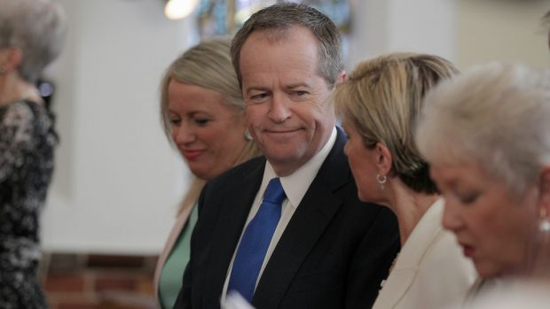 Opposition Leader Bill Shorten and Liberals Deputy Leader Julie Bishop during the service at Canberra Baptist Church in 2015.