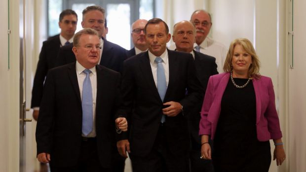 Prime Minister Tony Abbott emerges from the the Liberal party room after surviving a leadership spill.