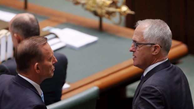 Prime Minister Tony Abbott with Malcolm Turnbull at Parliament House on Monday.
