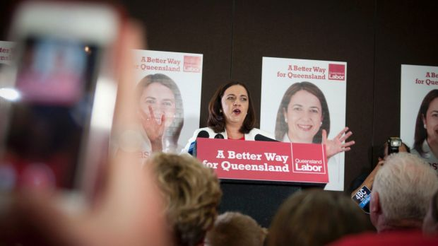 Labor leader Annastacia Palaszczuk addresses supporters on election night.