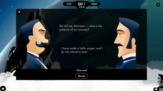 The story of <i>80 Days</i> is told in plain text or talking heads, with input from the player shaping the tale as it goes.